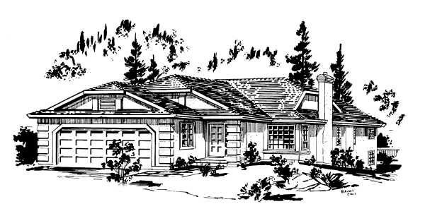 Ranch House Plan 58884 Elevation