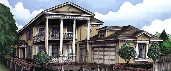 Florida Plantation House Plan 58968 Elevation