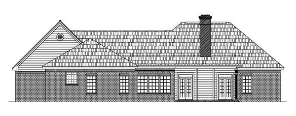 European House Plan 59007 Rear Elevation