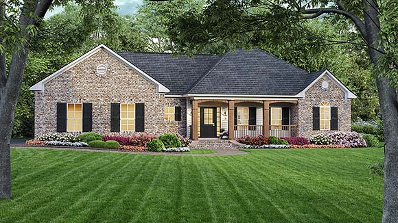 European, Ranch, Traditional House Plan 59008 with 3 Beds, 2 Baths, 2 Car Garage Elevation