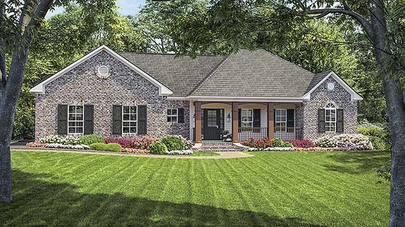 European, Ranch, Traditional House Plan 59010 with 3 Beds, 2 Baths, 2 Car Garage Elevation