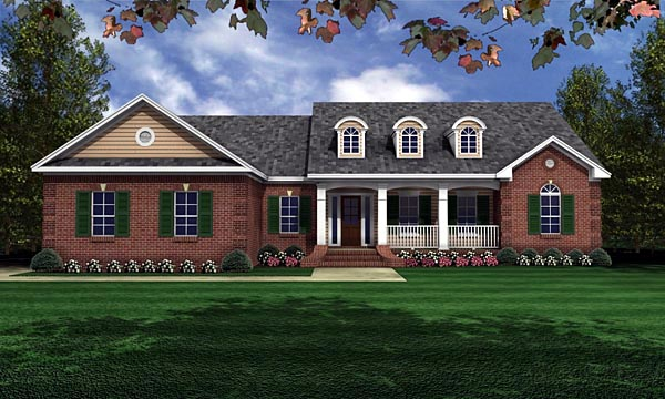 European Ranch Traditional House Plan 59011 Elevation