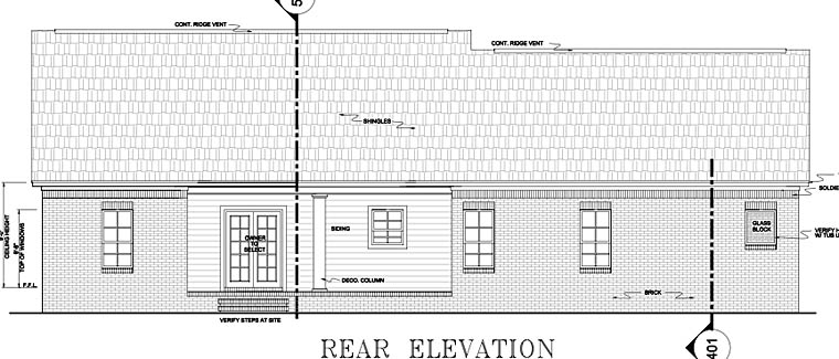 European Ranch Traditional House Plan 59011 Rear Elevation
