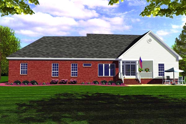 Country Ranch Southern Traditional House Plan 59012 Rear Elevation