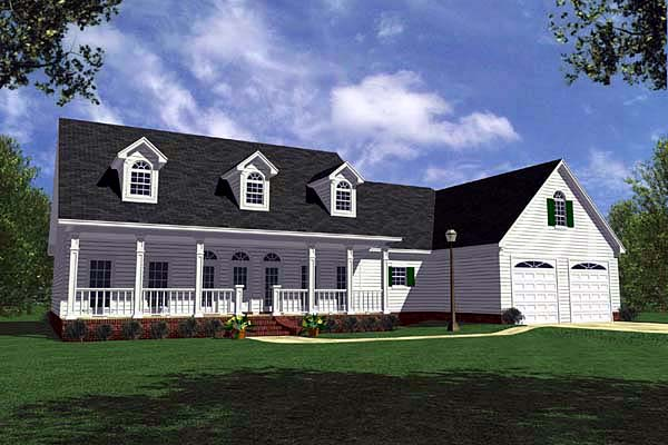 Country, Farmhouse, Ranch, Southern House Plan 59018 with 3 Beds, 3 Baths, 2 Car Garage Elevation