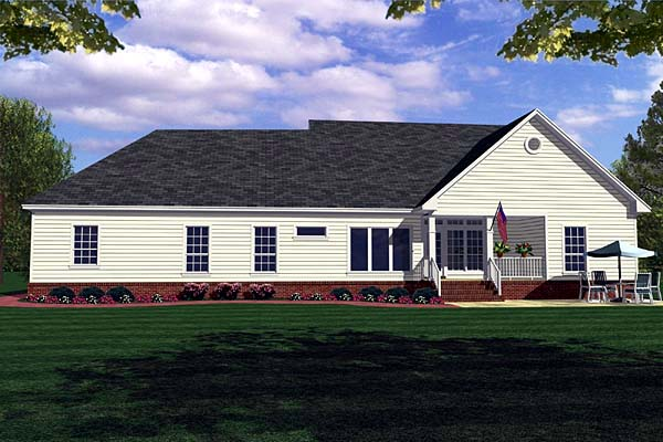 Country Farmhouse Ranch Southern House Plan 59018 Rear Elevation
