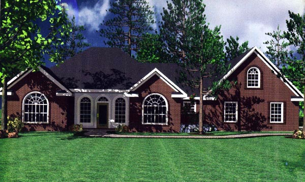European Ranch Traditional House Plan 59019 Elevation