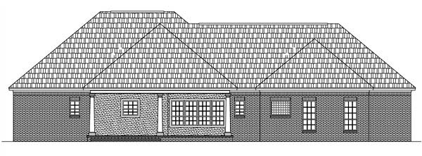 European Ranch Traditional House Plan 59020 Rear Elevation