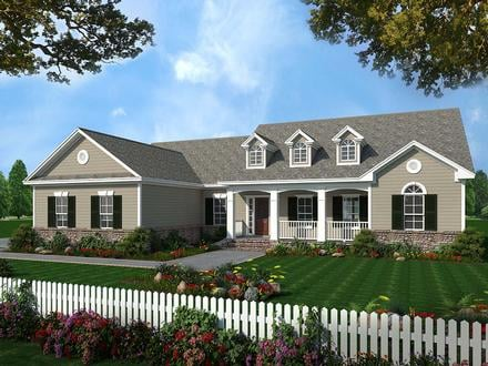Country, Ranch, Traditional House Plan 59025 with 3 Beds, 3 Baths, 2 Car Garage