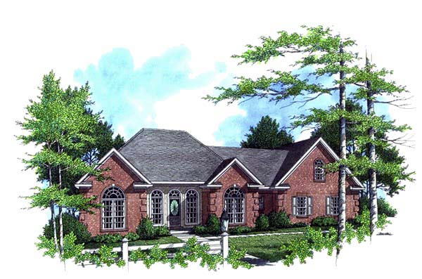 European Ranch Traditional House Plan 59026 Elevation