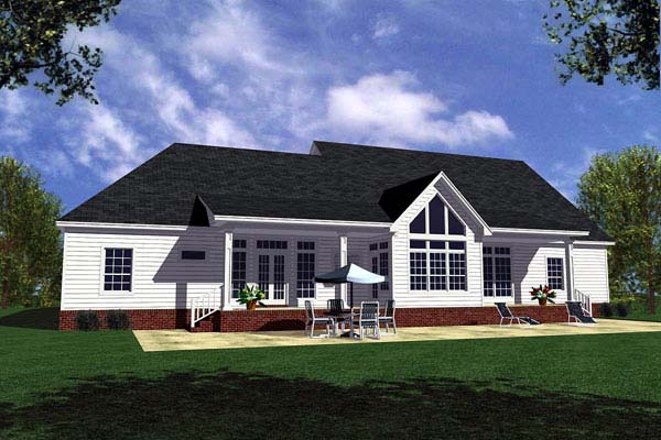 Country Ranch Southern Traditional House Plan 59028 Rear Elevation