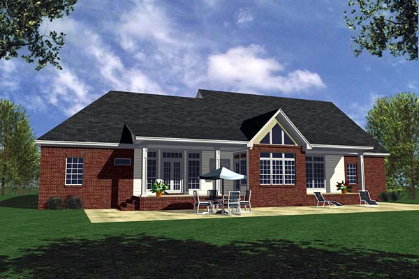 Country Farmhouse Ranch Southern House Plan 59030 Rear Elevation