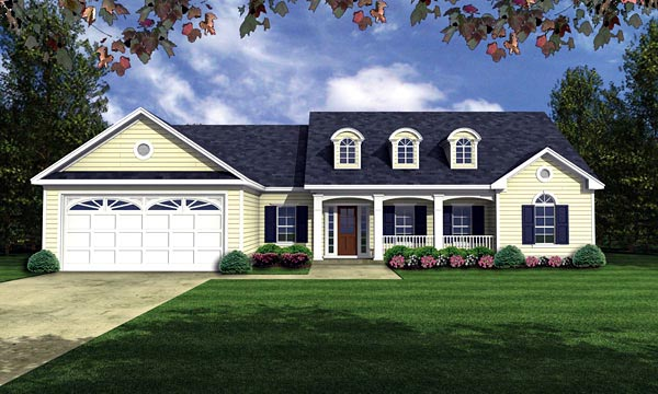 Country European Ranch Traditional House Plan 59035 Elevation