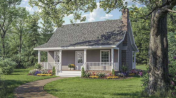 Cottage, Country, Southern House Plan 59039 with 1 Beds, 1 Baths Elevation