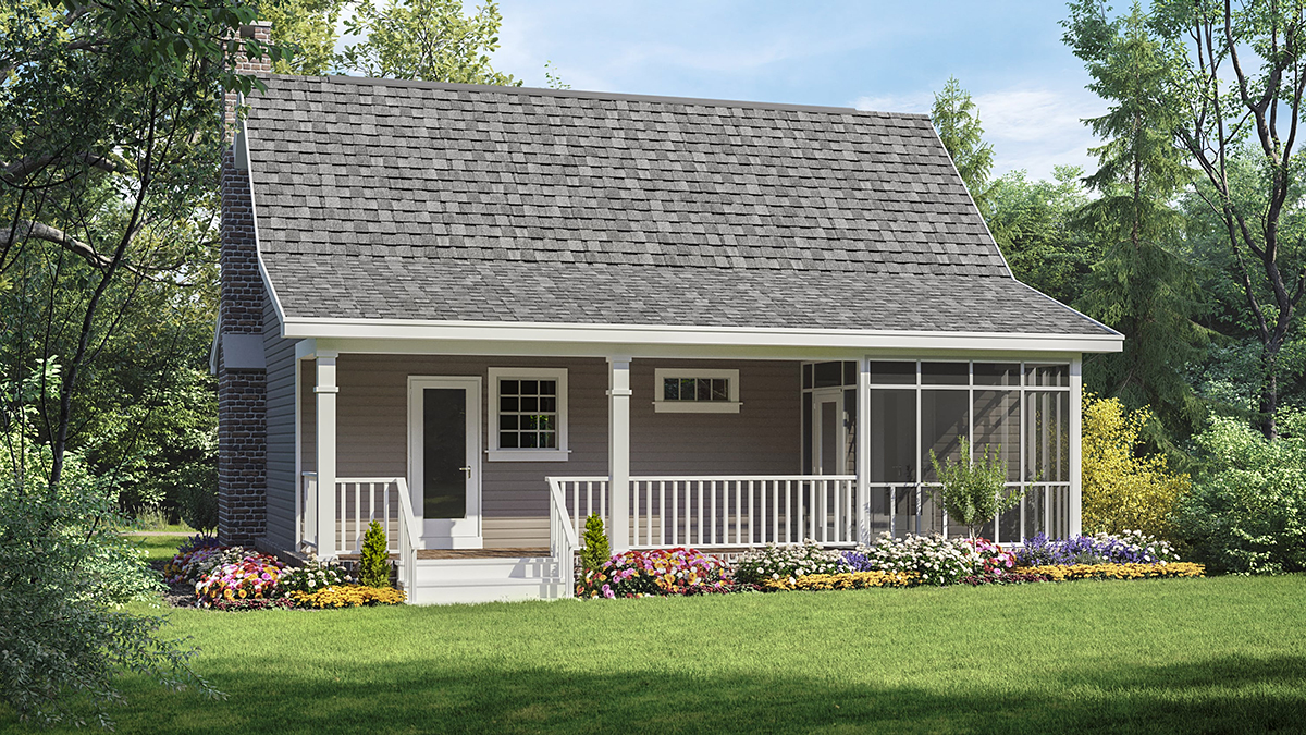 Cottage, Country, Southern House Plan 59039 with 1 Beds, 1 Baths Rear Elevation