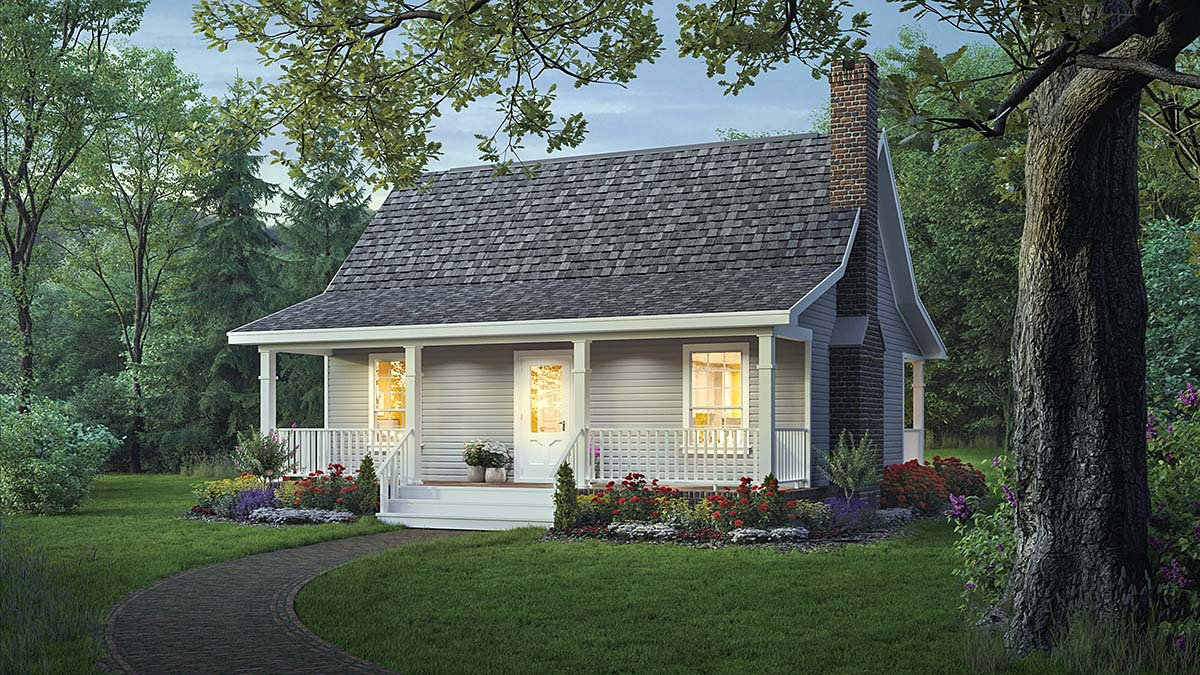 Country, Southern House Plan 59040 with 2 Beds, 1 Baths Elevation