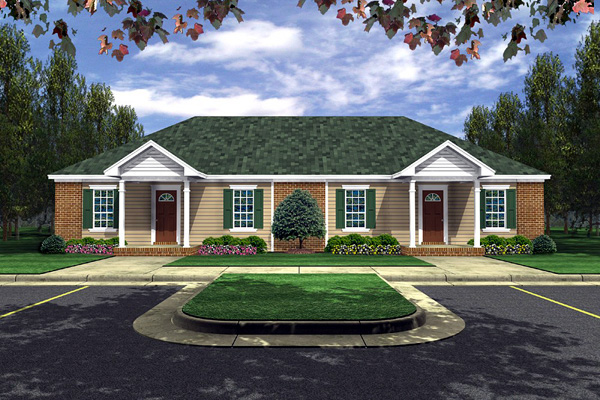 Ranch Multi-Family Plan 59041 with 4 Beds, 4 Baths Elevation