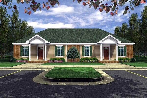 Ranch Multi-Family Plan 59041 Elevation