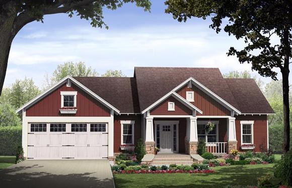 Bungalow, Cottage, Craftsman House Plan 59042 with 3 Beds, 2 Baths, 2 Car Garage Elevation