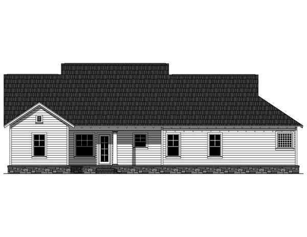Bungalow, Cottage, Craftsman House Plan 59042 with 3 Beds, 2 Baths, 2 Car Garage Rear Elevation