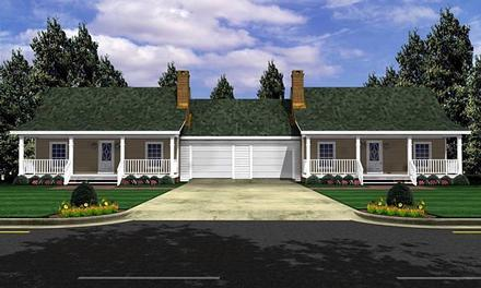 Bungalow Country Farmhouse Ranch Elevation of Plan 59046