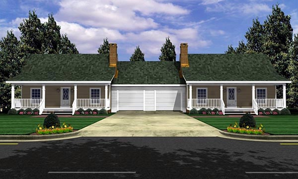 Bungalow Country Farmhouse Ranch Multi-Family Plan 59046 Elevation
