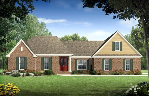 European, Ranch, Traditional House Plan 59049 with 4 Beds, 4 Baths, 2 Car Garage Elevation