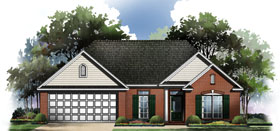 European , Ranch , Traditional House Plan 59060 with 3 Beds, 2 Baths, 2 Car Garage Elevation