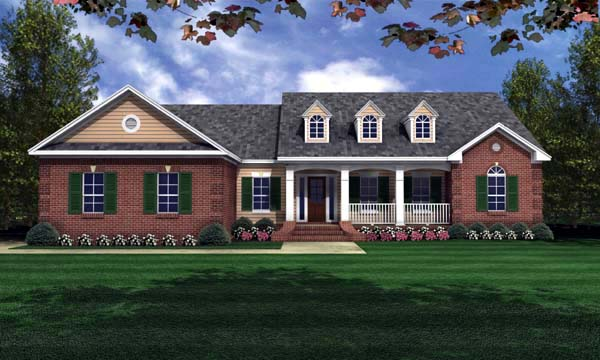 European, Ranch, Traditional House Plan 59066 with 3 Beds, 2 Baths, 2 Car Garage Elevation
