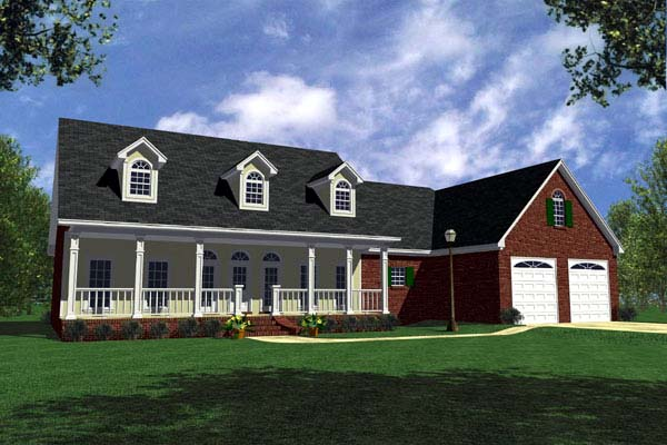 Country, Farmhouse, Ranch, Traditional House Plan 59067 with 3 Beds, 3 Baths, 2 Car Garage Elevation