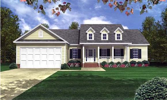 Country, Ranch, Southern, Traditional House Plan 59071 with 3 Beds, 3 Baths, 2 Car Garage Elevation
