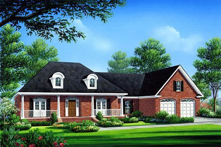 Acadian Country Farmhouse French Country Southern Elevation of Plan 59072