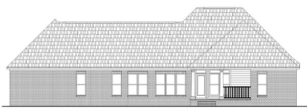 Acadian Country Farmhouse French Country Southern Rear Elevation of Plan 59072