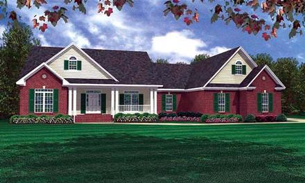 Ranch Traditional Elevation of Plan 59073