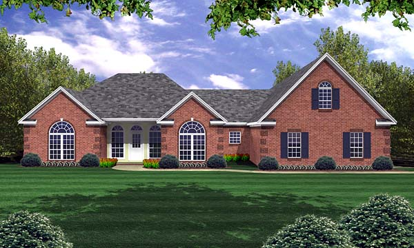 European, French Country, Ranch, Traditional House Plan 59074 with 3 Beds, 3 Baths, 3 Car Garage Elevation