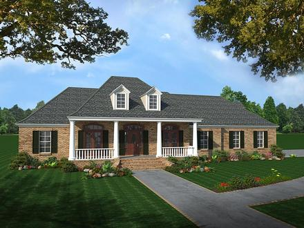 Colonial Country European Southern Elevation of Plan 59075