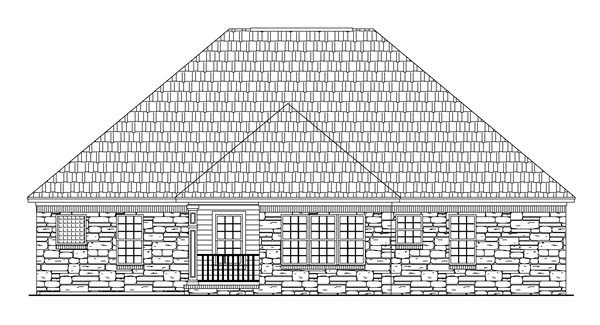 Country Craftsman European Traditional House Plan 59082 Rear Elevation