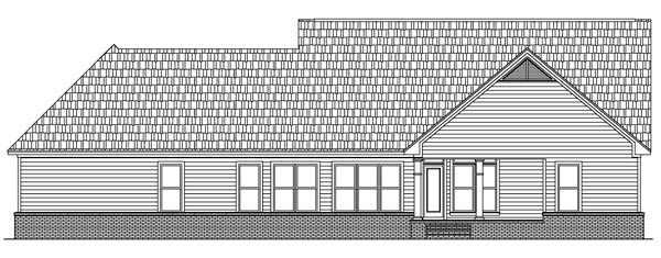 Rear Elevation of Craftsman   Ranch   Traditional   House Plan 59089