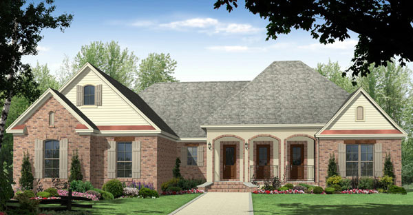 European, Ranch, Traditional House Plan 59091 with 3 Beds, 3 Baths, 3 Car Garage Elevation