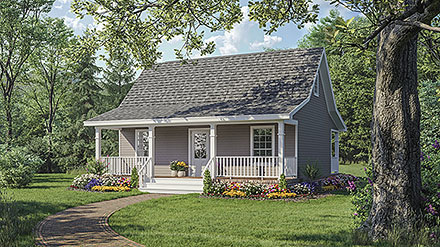 Cottage Country Farmhouse Elevation of Plan 59096