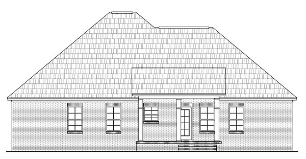 Country, European, Traditional House Plan 59097 with 4 Beds, 3 Baths, 2 Car Garage Rear Elevation