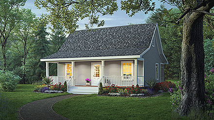 Cottage Country Farmhouse Elevation of Plan 59098