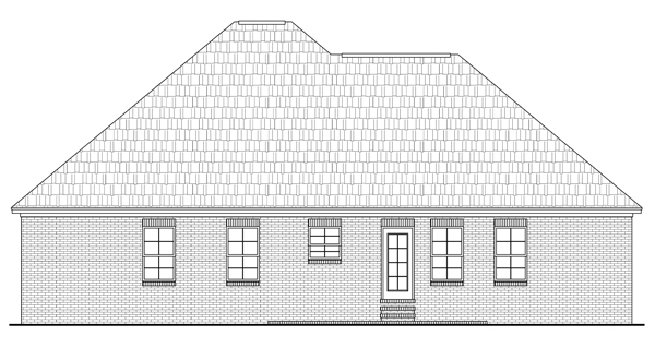 Acadian, European, Traditional House Plan 59099 with 3 Beds, 2 Baths, 2 Car Garage Rear Elevation