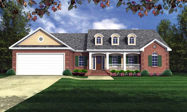 European Ranch Traditional House Plan 59105 Elevation