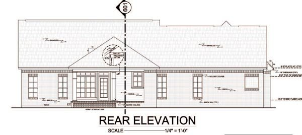 Rear Elevation of Country   Traditional   House Plan 59114