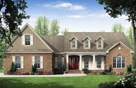 Country, Traditional House Plan 59114 with 3 Beds, 3 Baths, 2 Car Garage
