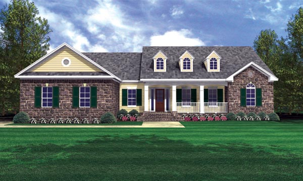 Country, European, Traditional House Plan 59121 with 3 Beds, 3 Baths, 2 Car Garage Elevation