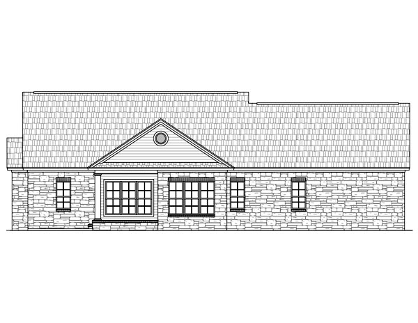 Country, European, Traditional House Plan 59121 with 3 Beds, 3 Baths, 2 Car Garage Rear Elevation