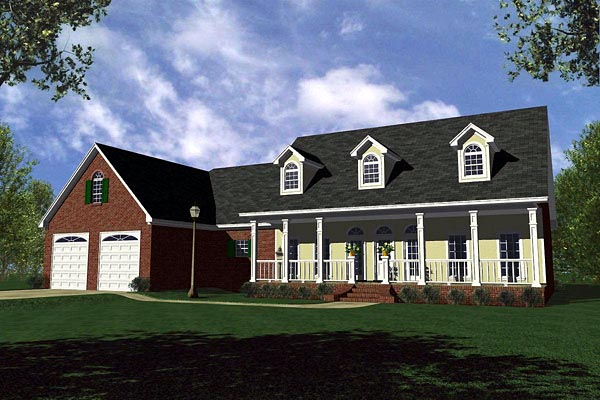 Country Farmhouse Ranch Traditional House Plan 59130 Elevation