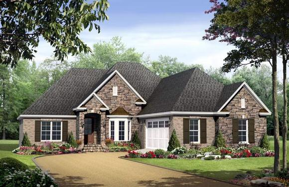 Country, European, Traditional House Plan 59132 with 3 Beds, 2 Baths, 2 Car Garage Elevation